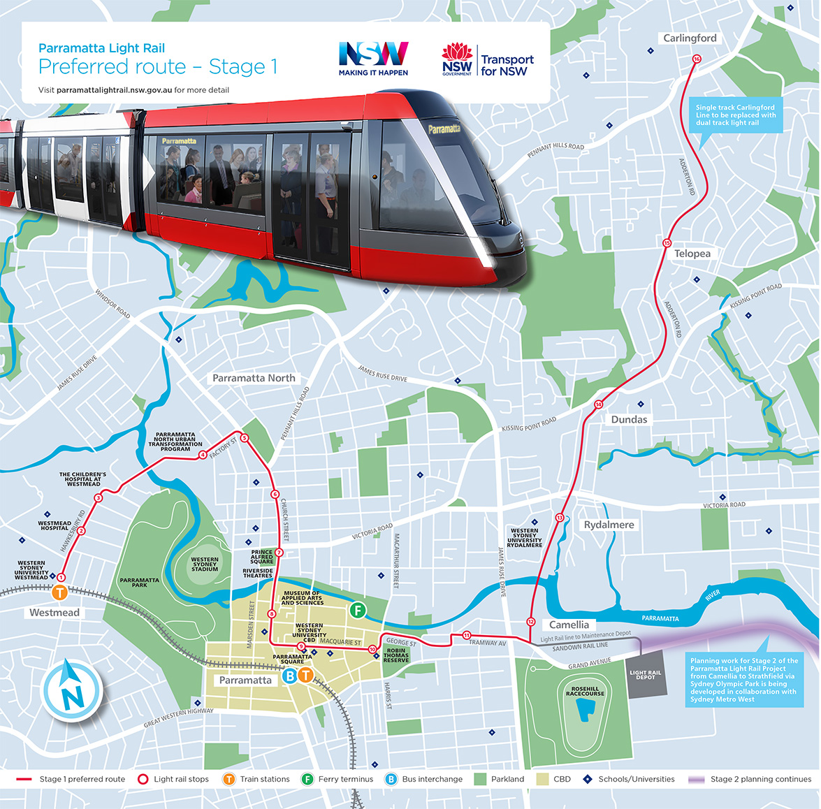 Parramatta Light Rail Stage 1 Map