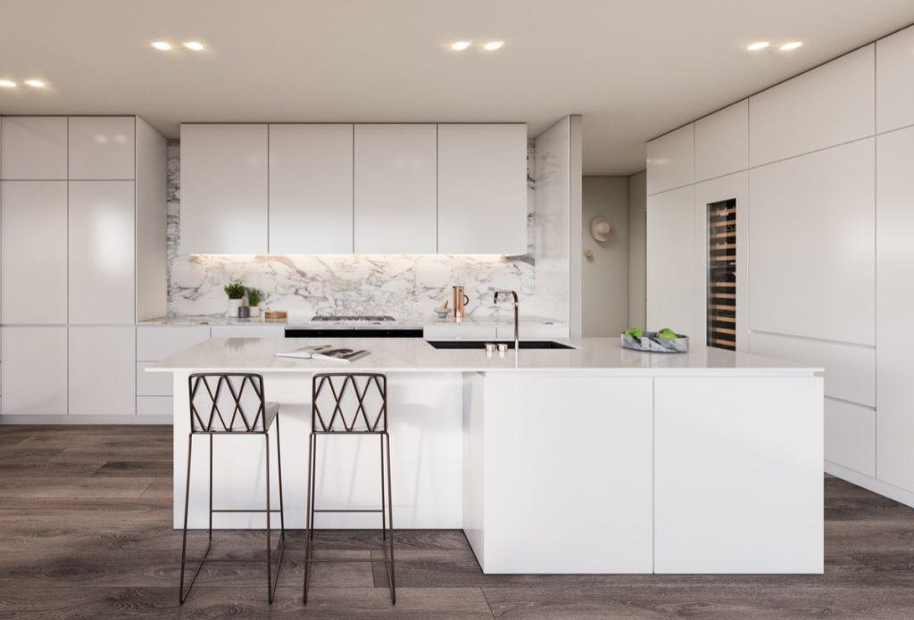 White Marble Kitchen with Dark Wood Floors