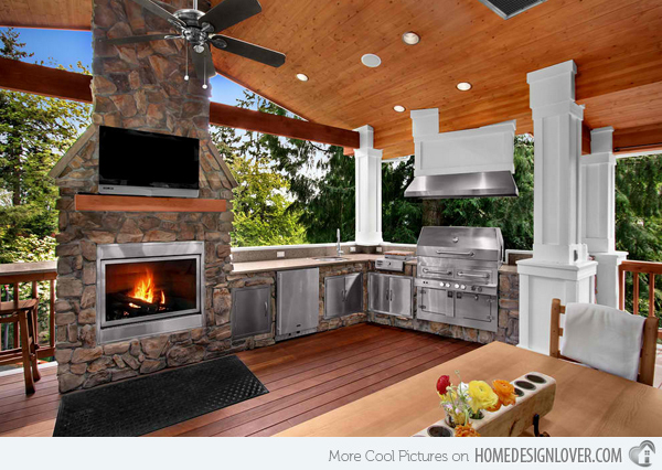 Vintage Style Fireplace Outdoor Kitchen