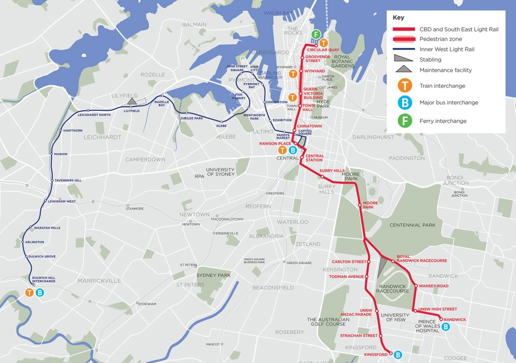 Sydney CBD Light Rail Route