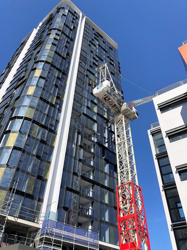 Embassy Tower Topped out in St Leonards with crane coming down