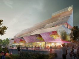 ground-level view render of the Parramatta Council Chambers Building at PSQ5