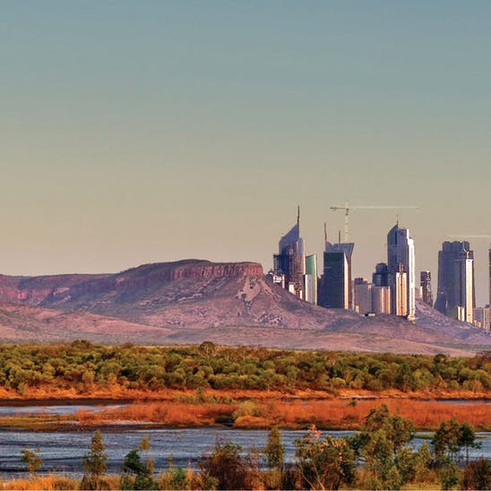 Render of a potential new city in Australia in the Pilbara - Source: The Conversation