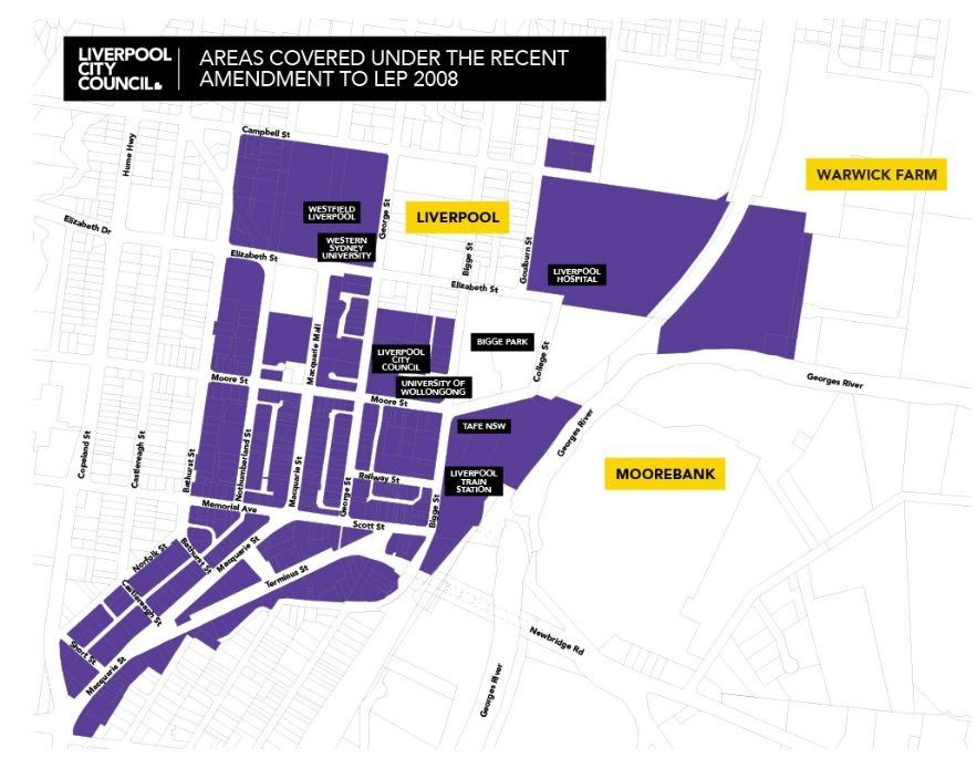 Liverpool Rezone Map for Mixed-use