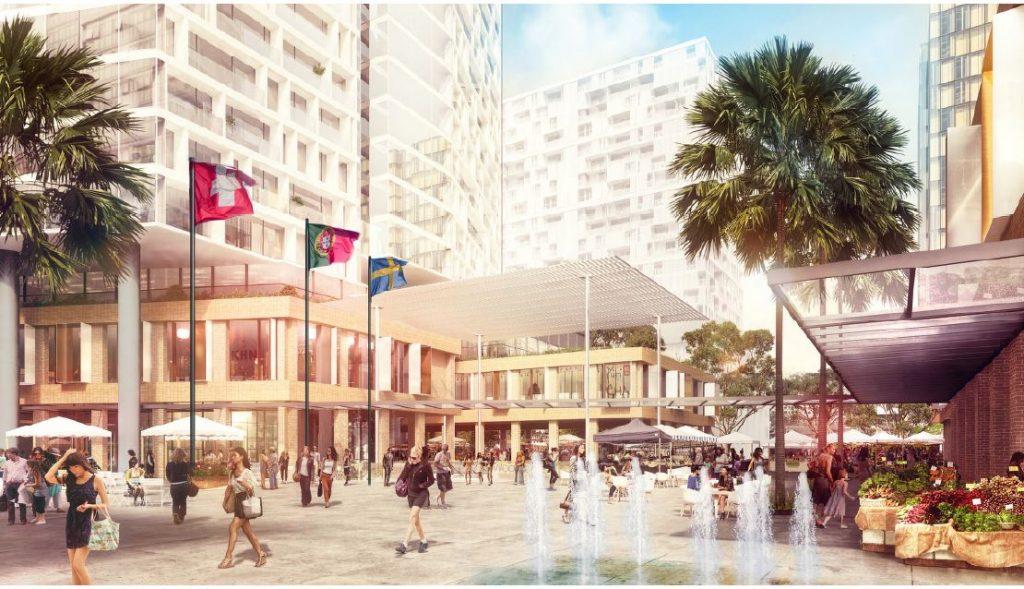 Ground floor plaza of the Burwood Place development