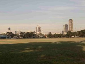 View of the Skyline from North Parramatta with the black crane in the background for Parramatta Square 6 & 8
