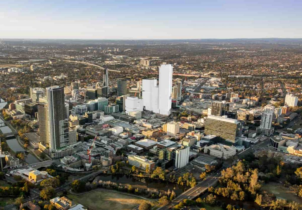 Aerial view of the Parramatta Square Precinct