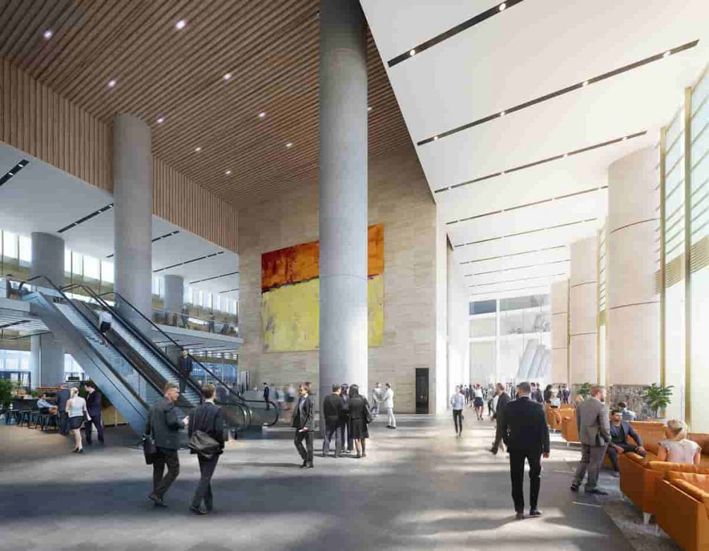 Lobby render of Parramatta Square 6 & 8 Tower